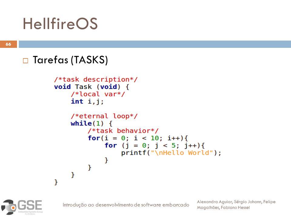 HellfireOS 66 Tarefas (TASKS) Alexandra Aguiar, Sérgio Johann, Felipe Magalhães, Fabiano Hessel Introdução ao desenvolvimento de software embarcado