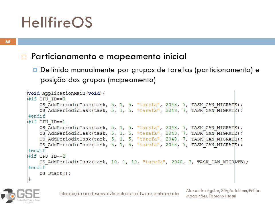 HellfireOS 68 Particionamento e mapeamento inicial Definido manualmente por grupos de tarefas (particionamento) e posição dos grupos (mapeamento) Alex