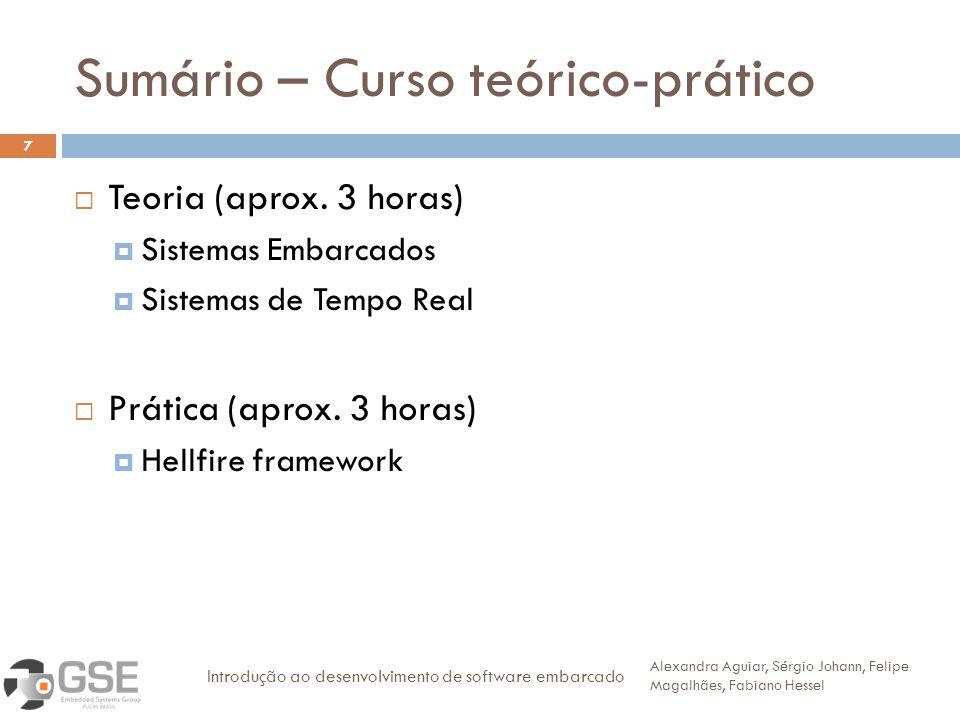 Sumário – Curso teórico-prático Teoria (aprox. 3 horas) Sistemas Embarcados Sistemas de Tempo Real Prática (aprox. 3 horas) Hellfire framework Alexand