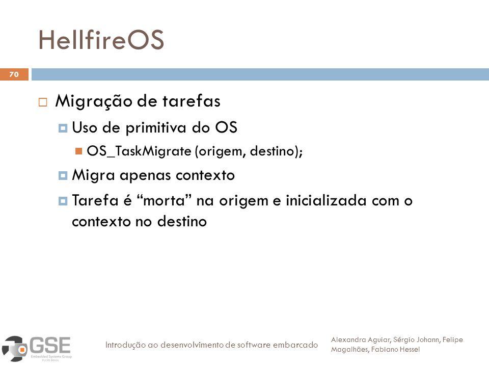 HellfireOS 70 Migração de tarefas Uso de primitiva do OS OS_TaskMigrate (origem, destino); Migra apenas contexto Tarefa é morta na origem e inicializa