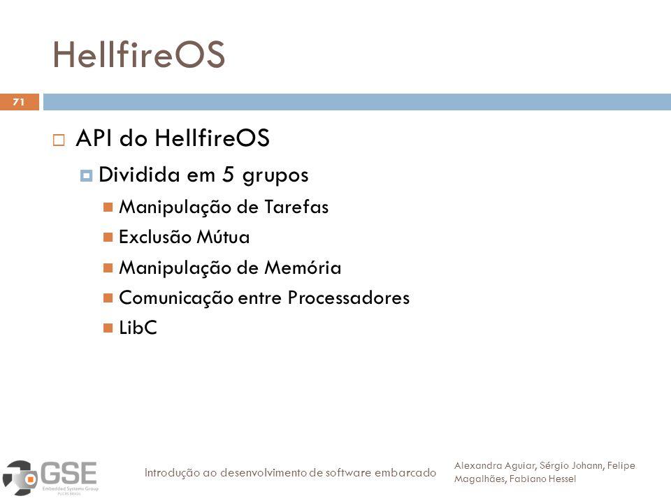 HellfireOS 71 API do HellfireOS Dividida em 5 grupos Manipulação de Tarefas Exclusão Mútua Manipulação de Memória Comunicação entre Processadores LibC Alexandra Aguiar, Sérgio Johann, Felipe Magalhães, Fabiano Hessel Introdução ao desenvolvimento de software embarcado