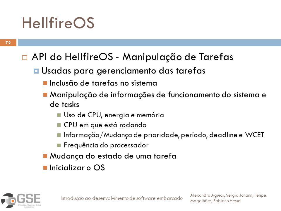 HellfireOS 72 API do HellfireOS - Manipulação de Tarefas Usadas para gerenciamento das tarefas Inclusão de tarefas no sistema Manipulação de informaçõ
