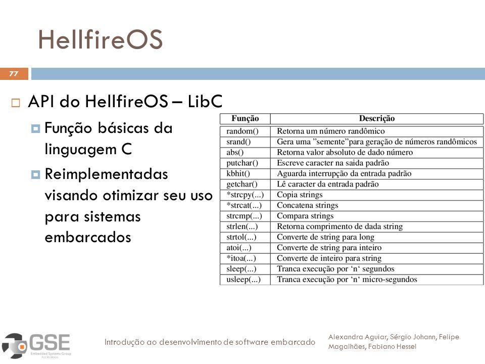 HellfireOS 77 API do HellfireOS – LibC Função básicas da linguagem C Reimplementadas visando otimizar seu uso para sistemas embarcados Alexandra Aguiar, Sérgio Johann, Felipe Magalhães, Fabiano Hessel Introdução ao desenvolvimento de software embarcado