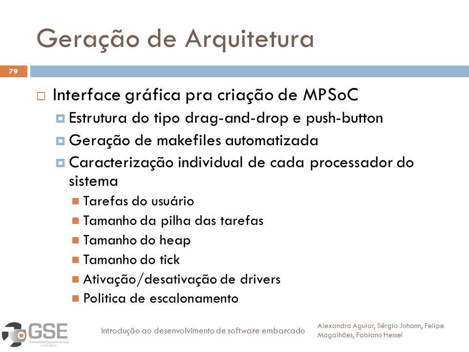 Geração de Arquitetura 79 Interface gráfica pra criação de MPSoC Estrutura do tipo drag-and-drop e push-button Geração de makefiles automatizada Carac