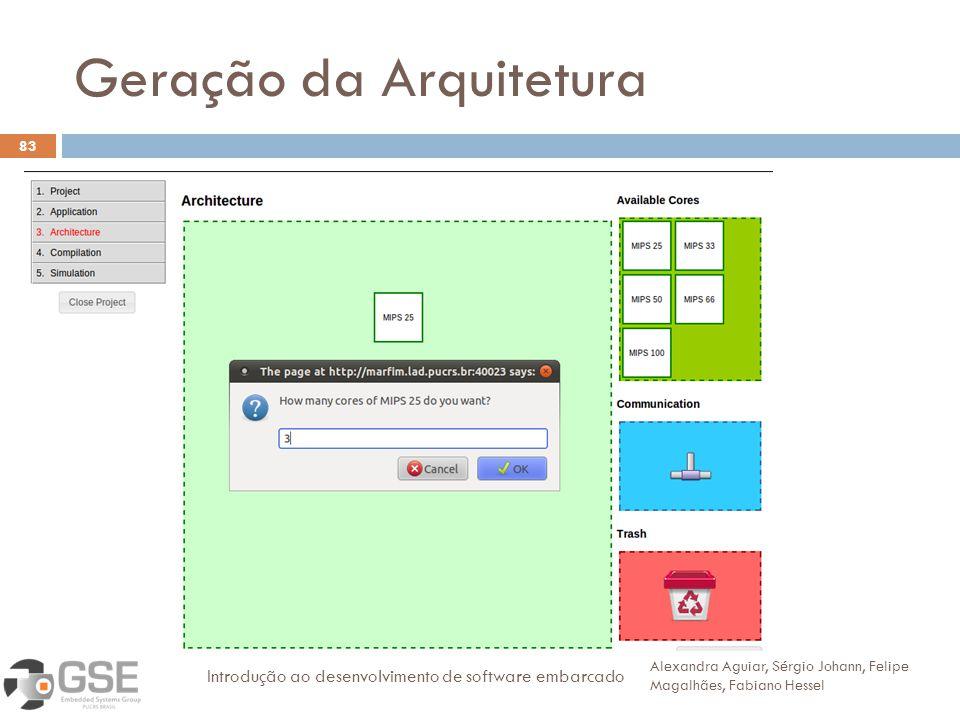Geração da Arquitetura 83 Alexandra Aguiar, Sérgio Johann, Felipe Magalhães, Fabiano Hessel Introdução ao desenvolvimento de software embarcado