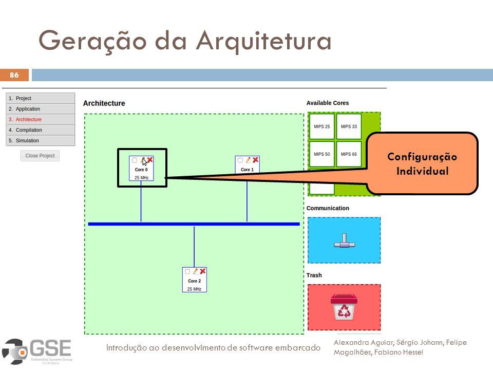 Geração da Arquitetura 86 Alexandra Aguiar, Sérgio Johann, Felipe Magalhães, Fabiano Hessel Introdução ao desenvolvimento de software embarcado Configuração Individual
