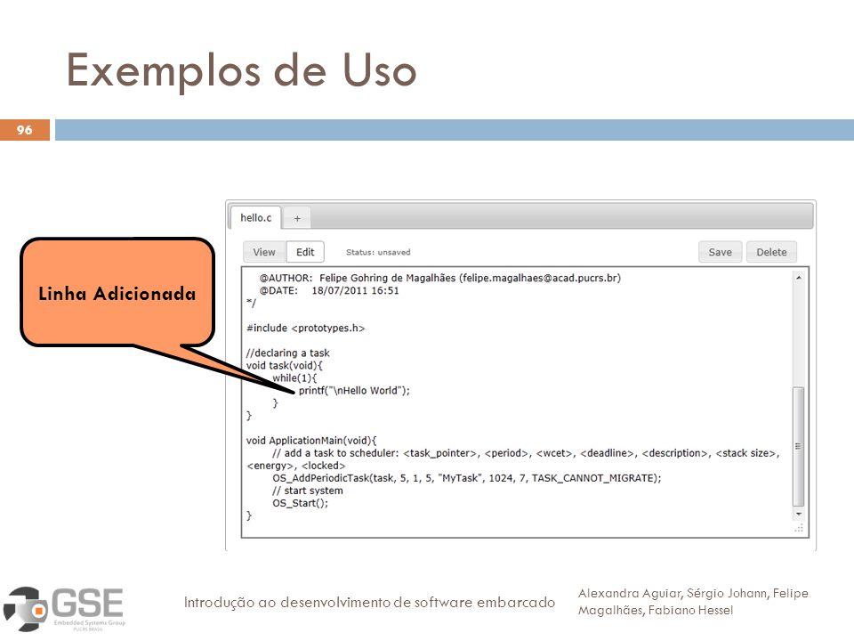 Exemplos de Uso 96 Alexandra Aguiar, Sérgio Johann, Felipe Magalhães, Fabiano Hessel Introdução ao desenvolvimento de software embarcado Linha Adicionada