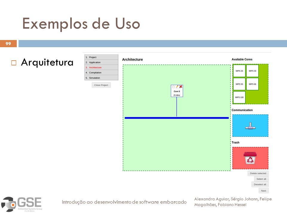 Exemplos de Uso 99 Arquitetura Alexandra Aguiar, Sérgio Johann, Felipe Magalhães, Fabiano Hessel Introdução ao desenvolvimento de software embarcado
