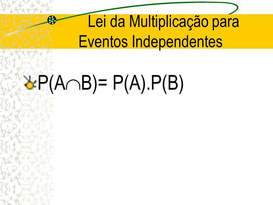 Lei da Multiplicação P (A B)= P(B).P(A/B) ou P(A B)= P(A).P(B/A)