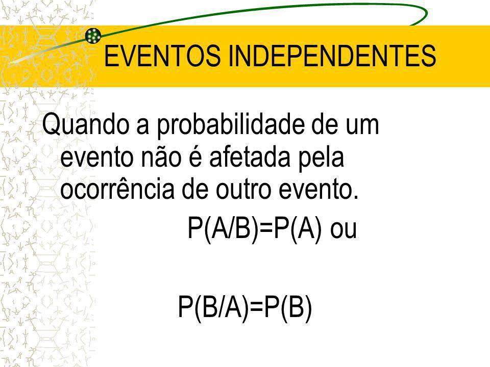 PROBABILIDADE CONDICIONAL P(A/B)= P(A B)/P(B) ou P(B/A)= P(A B)/P(A)