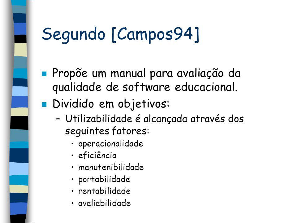Segundo [Campos94] n Propõe um manual para avaliação da qualidade de software educacional. n Dividido em objetivos: –Utilizabilidade é alcançada atrav