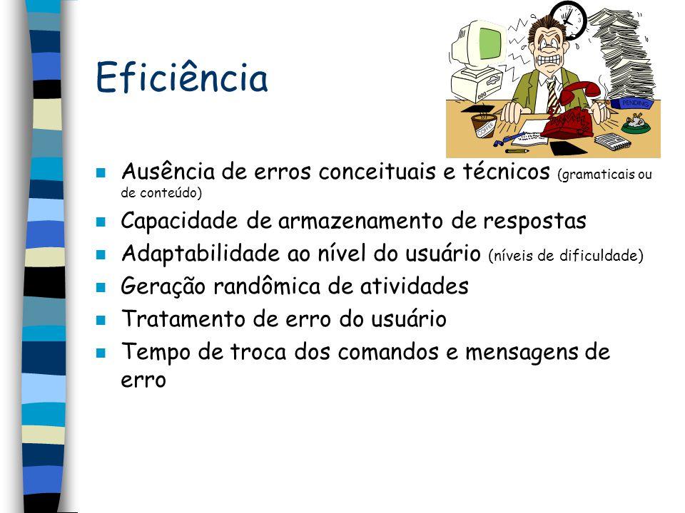 Eficiência n Ausência de erros conceituais e técnicos (gramaticais ou de conteúdo) n Capacidade de armazenamento de respostas n Adaptabilidade ao níve