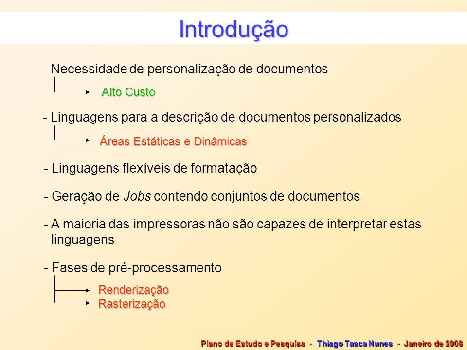Introdução - Necessidade de personalização de documentos - Linguagens para a descrição de documentos personalizados Áreas Estáticas e Dinâmicas - Ling