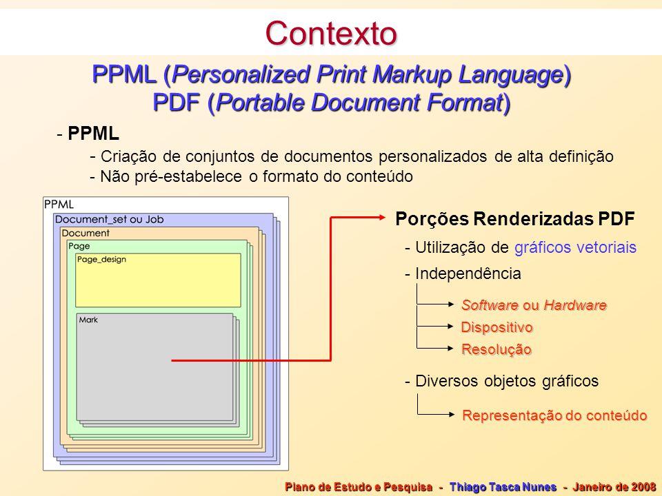 PPML (Personalized Print Markup Language) PDF (Portable Document Format) - PPML - Criação de conjuntos de documentos personalizados de alta definição - Não pré-estabelece o formato do conteúdo Plano de Estudo e Pesquisa - Thiago Tasca Nunes - Janeiro de 2008 Porções Renderizadas PDF Software ou Hardware Dispositivo - Independência - Utilização de gráficos vetoriais - Diversos objetos gráficos Representação do conteúdo Resolução Contexto