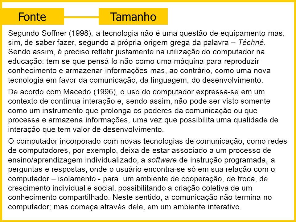 FonteTamanho Segundo Soffner (1998), a tecnologia não é uma questão de equipamento mas, sim, de saber fazer, segundo a própria origem grega da palavra