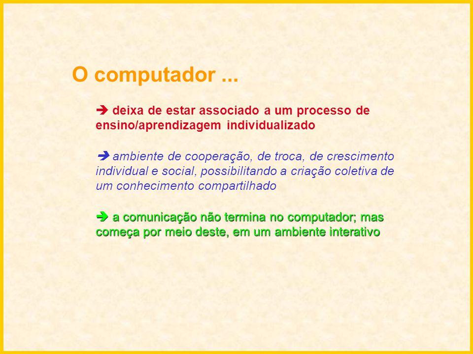 O computador... deixa de estar associado a um processo de ensino/aprendizagem individualizado ambiente de cooperação, de troca, de crescimento individ
