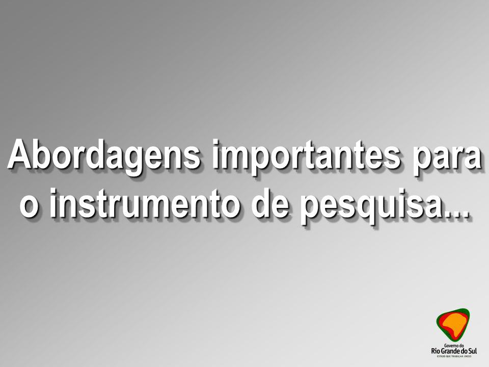Abordagens importantes para o instrumento de pesquisa...