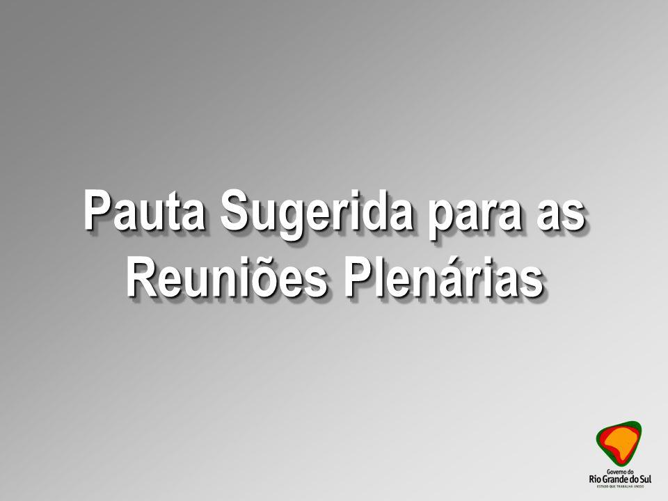 Pauta Sugerida para as Reuniões Plenárias