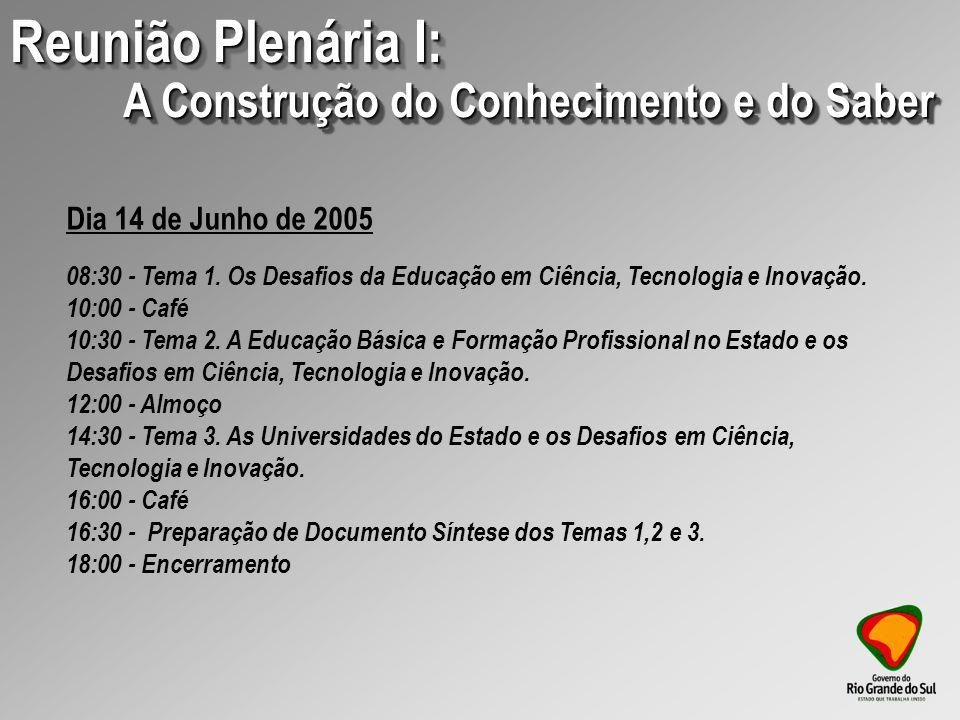 09:00 - Apresentação e Discussão do Relatório Setorial REUNIÃO PLENÁRIA II: A SOCIEDADE DO CONHECIMENTO.