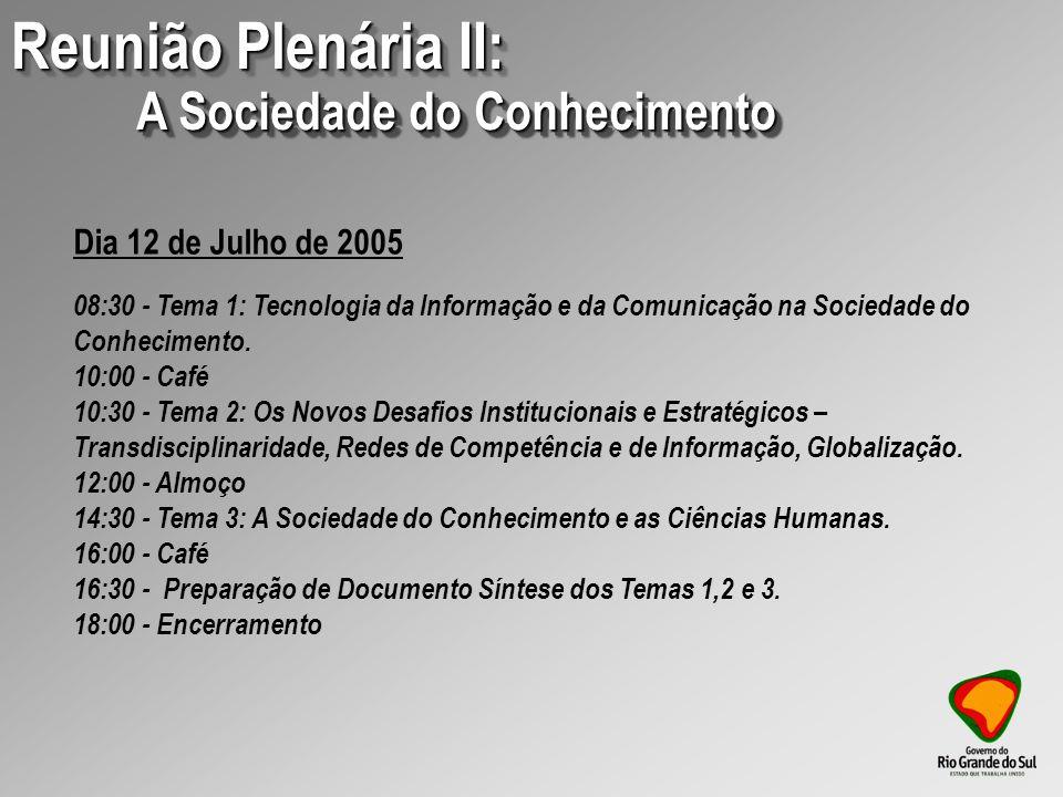 09:00 - Apresentação e Discussão do Relatório Setorial REUNIÃO PLENÁRIA IV: DESAFIOS ESTRATÉGICOS DO ESTADO E DAS INSTITUIÇÕES GAÚCHAS.