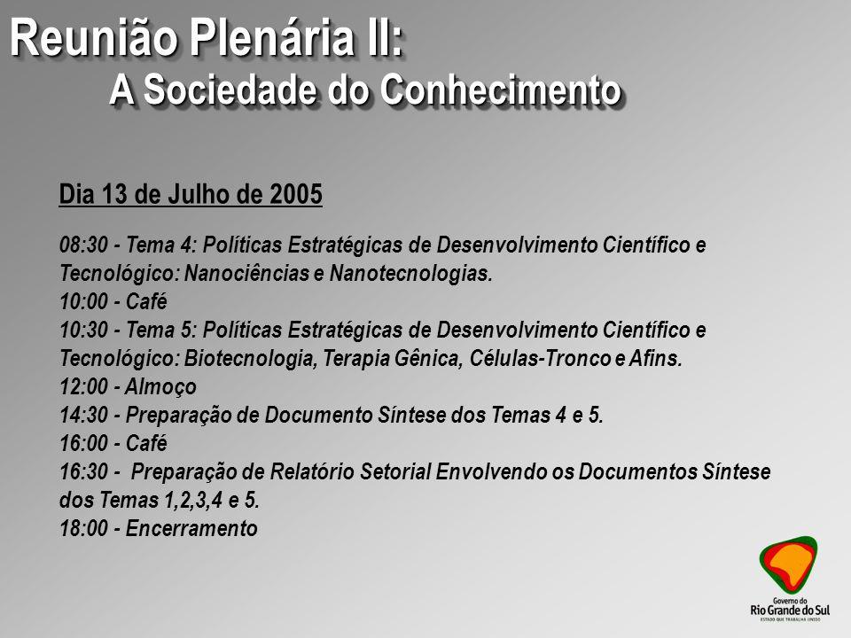09:00 – Palestra: Apresentador: Erney Felício Plessmann de Camargo (Presidente do Conselho Nacional de Pesquisa (CNPq) 10:00 – Palestra: Apresentador: Sérgio Machado Rezende (Presidente da Financiadora de Estudos e Projetos (FINEP)) 11:00 – Café 11:30 - Reunião Plenária Conhecimento, Tecnologia, Inovação e Qualidade de Vida: uma visão do Estado do Rio Grande do Sul, Documento Síntese 12:15 - Encerramento 12:30 - Almoço Dia 21 de Outubro de 2005