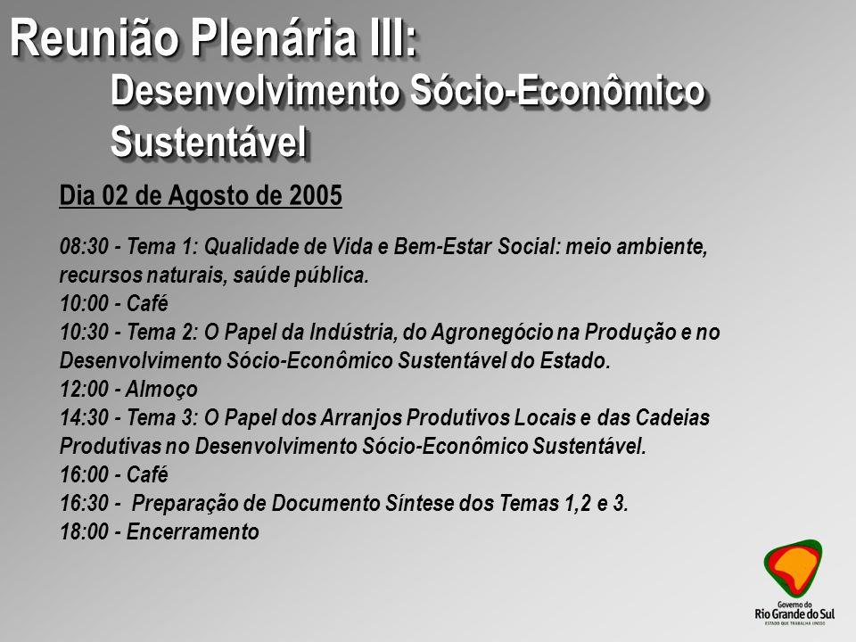 08:30 - Tema 1: Qualidade de Vida e Bem-Estar Social: meio ambiente, recursos naturais, saúde pública.