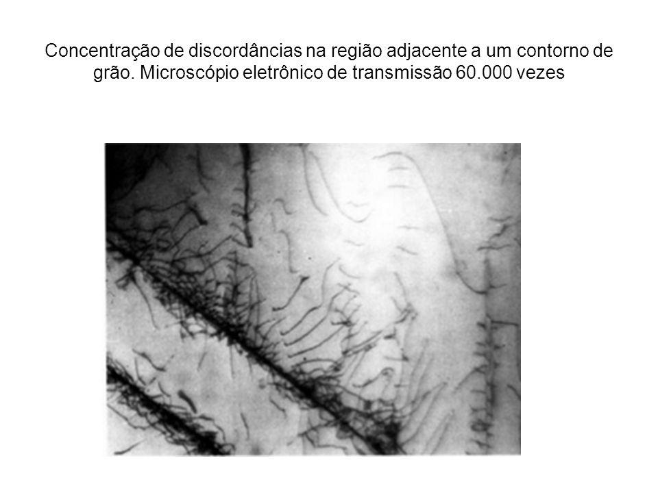 Concentração de discordâncias na região adjacente a um contorno de grão. Microscópio eletrônico de transmissão 60.000 vezes