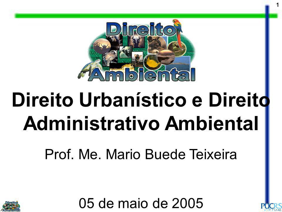 1 Direito Urbanístico e Direito Administrativo Ambiental Prof. Me. Mario Buede Teixeira 05 de maio de 2005