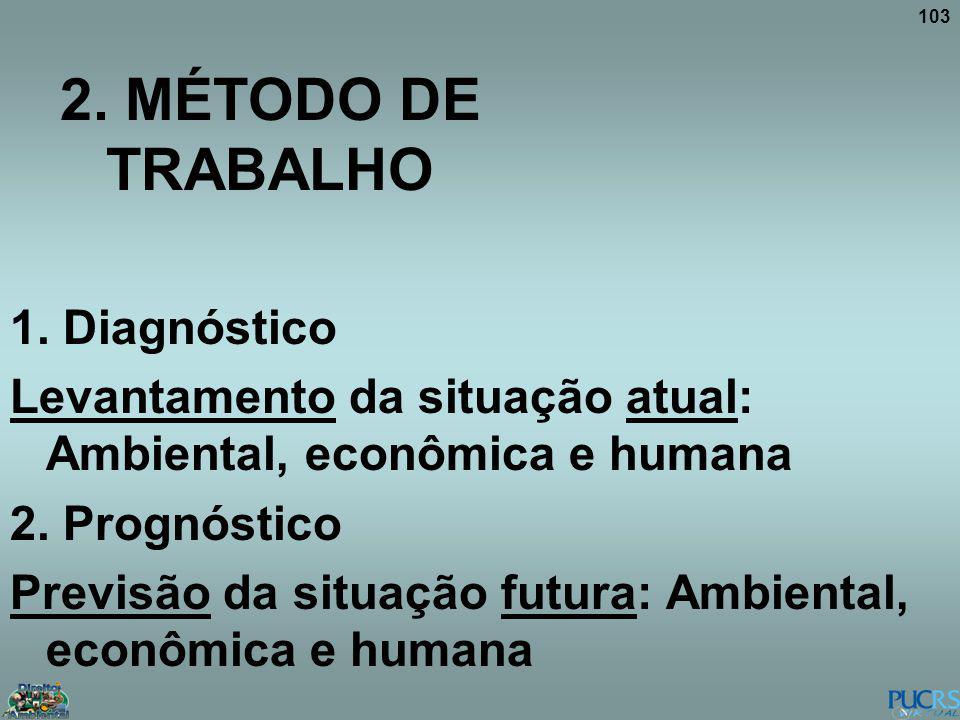 103 2. MÉTODO DE TRABALHO 1. Diagnóstico Levantamento da situação atual: Ambiental, econômica e humana 2. Prognóstico Previsão da situação futura: Amb