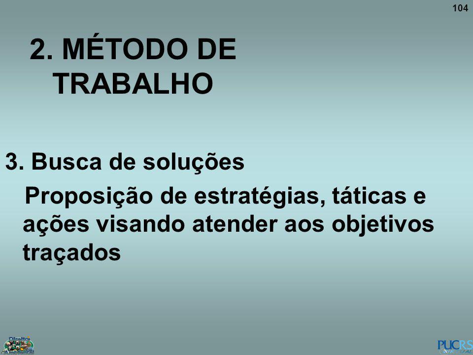 104 2. MÉTODO DE TRABALHO 3. Busca de soluções Proposição de estratégias, táticas e ações visando atender aos objetivos traçados