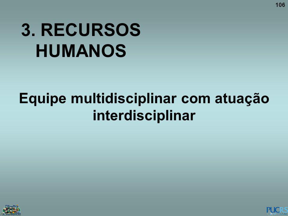 106 3. RECURSOS HUMANOS Equipe multidisciplinar com atuação interdisciplinar