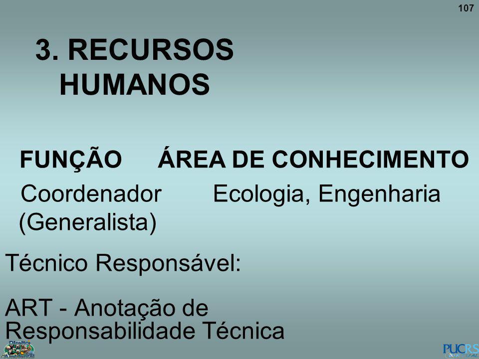 107 3. RECURSOS HUMANOS FUNÇÃO ÁREA DE CONHECIMENTO Coordenador (Generalista) Ecologia, Engenharia Técnico Responsável: ART - Anotação de Responsabili