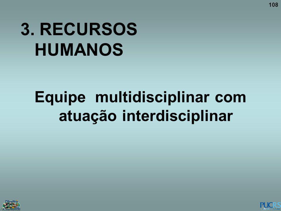 108 3. RECURSOS HUMANOS Equipe multidisciplinar com atuação interdisciplinar