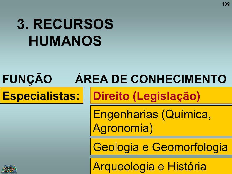 109 3. RECURSOS HUMANOS FUNÇÃO ÁREA DE CONHECIMENTO Especialistas:Direito (Legislação) Engenharias (Química, Agronomia) Geologia e Geomorfologia Arque
