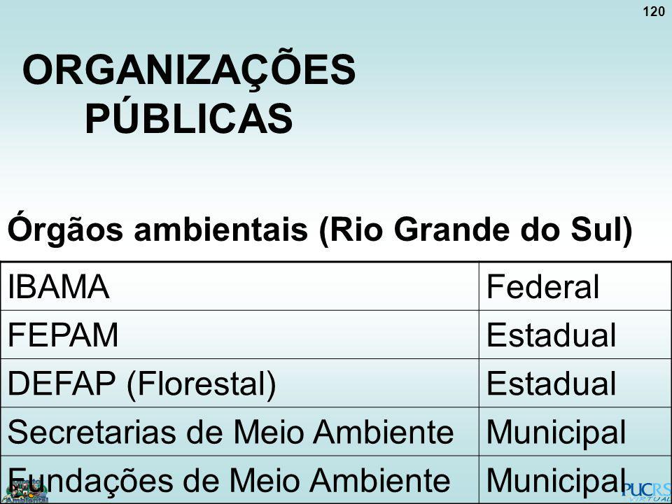 120 ORGANIZAÇÕES PÚBLICAS Órgãos ambientais (Rio Grande do Sul) IBAMAFederal FEPAMEstadual DEFAP (Florestal)Estadual Secretarias de Meio AmbienteMunic