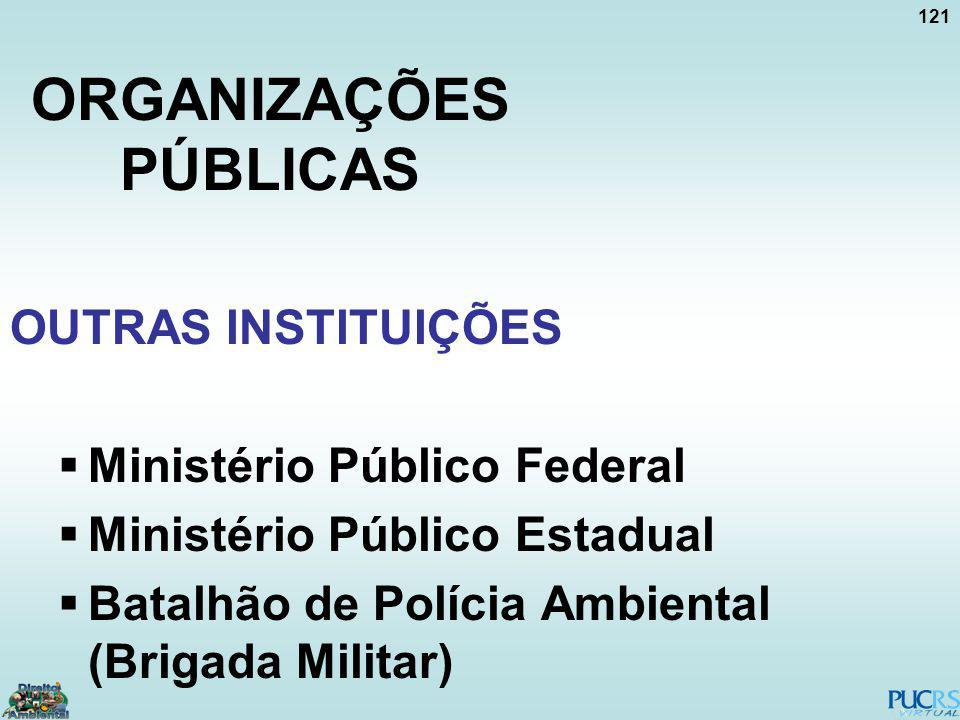 121 ORGANIZAÇÕES PÚBLICAS OUTRAS INSTITUIÇÕES Ministério Público Federal Ministério Público Estadual Batalhão de Polícia Ambiental (Brigada Militar)