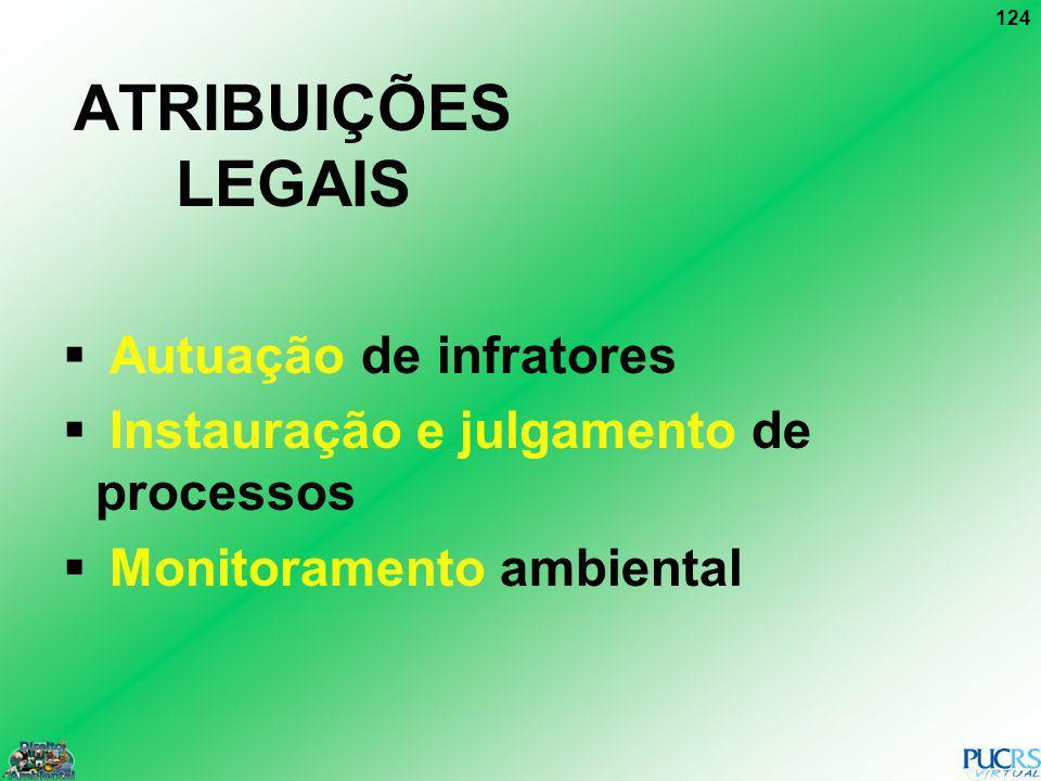 124 ATRIBUIÇÕES LEGAIS Autuação de infratores Instauração e julgamento de processos Monitoramento ambiental