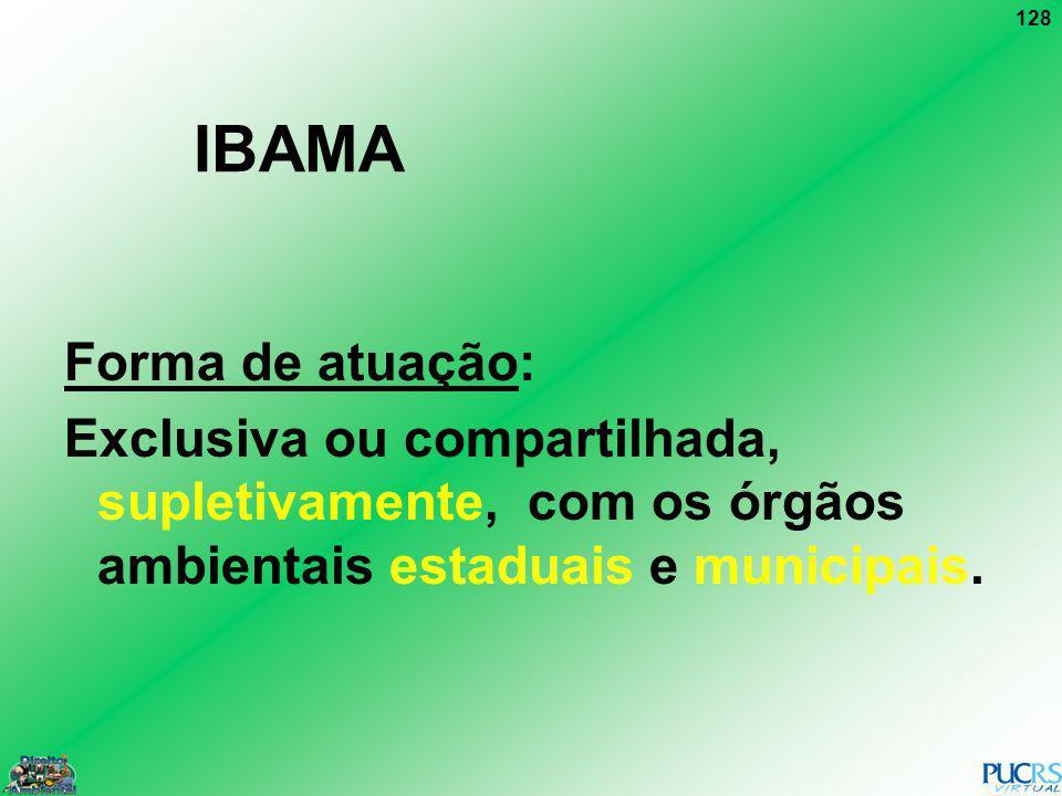 128 IBAMA Forma de atuação: Exclusiva ou compartilhada, supletivamente, com os órgãos ambientais estaduais e municipais.
