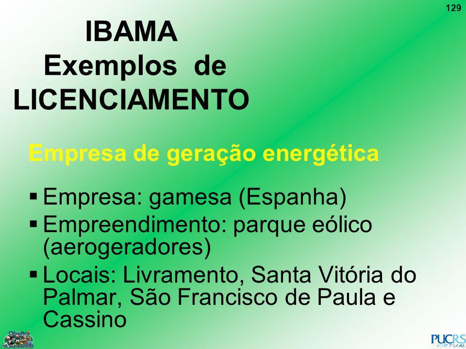 129 IBAMA Exemplos de LICENCIAMENTO Empresa de geração energética Empresa: gamesa (Espanha) Empreendimento: parque eólico (aerogeradores) Locais: Livr