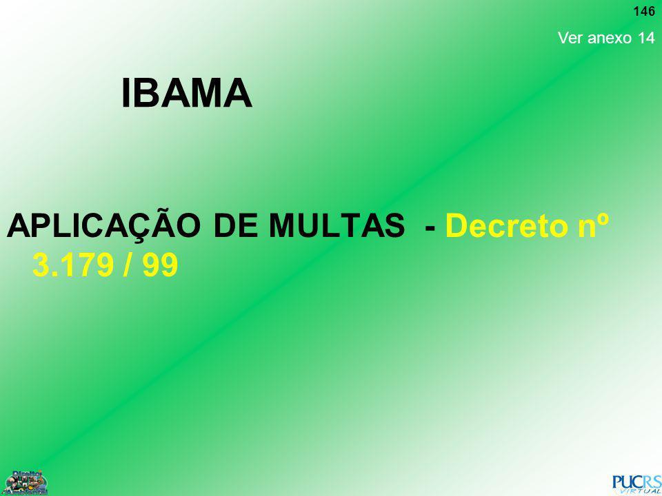 146 IBAMA APLICAÇÃO DE MULTAS - Decreto nº 3.179 / 99 Ver anexo 14