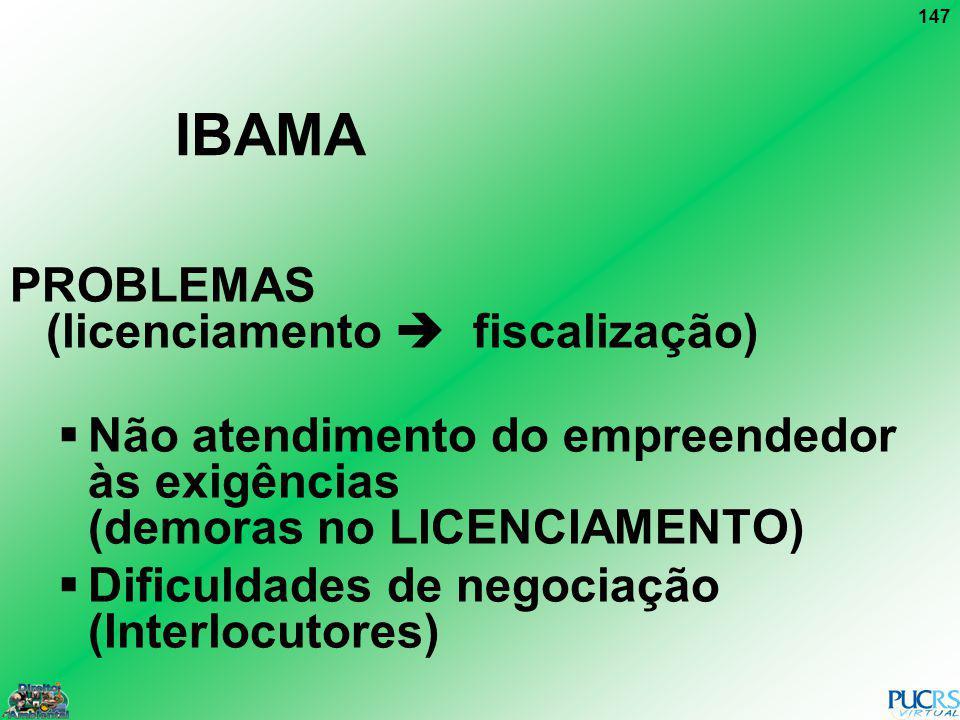 147 IBAMA PROBLEMAS (licenciamento fiscalização) Não atendimento do empreendedor às exigências (demoras no LICENCIAMENTO) Dificuldades de negociação (