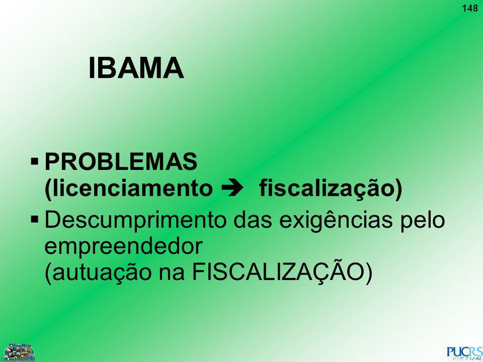 148 IBAMA PROBLEMAS (licenciamento fiscalização) Descumprimento das exigências pelo empreendedor (autuação na FISCALIZAÇÃO)