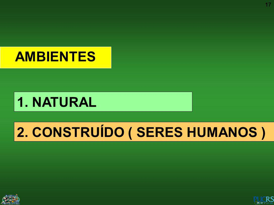 17 AMBIENTES 1. NATURAL 2. CONSTRUÍDO ( SERES HUMANOS )