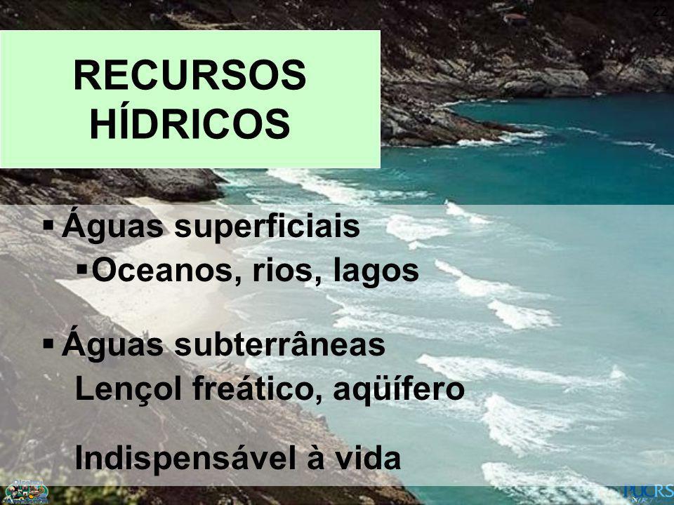 22 RECURSOS HÍDRICOS Águas superficiais Oceanos, rios, lagos Águas subterrâneas Lençol freático, aqüífero Indispensável à vida