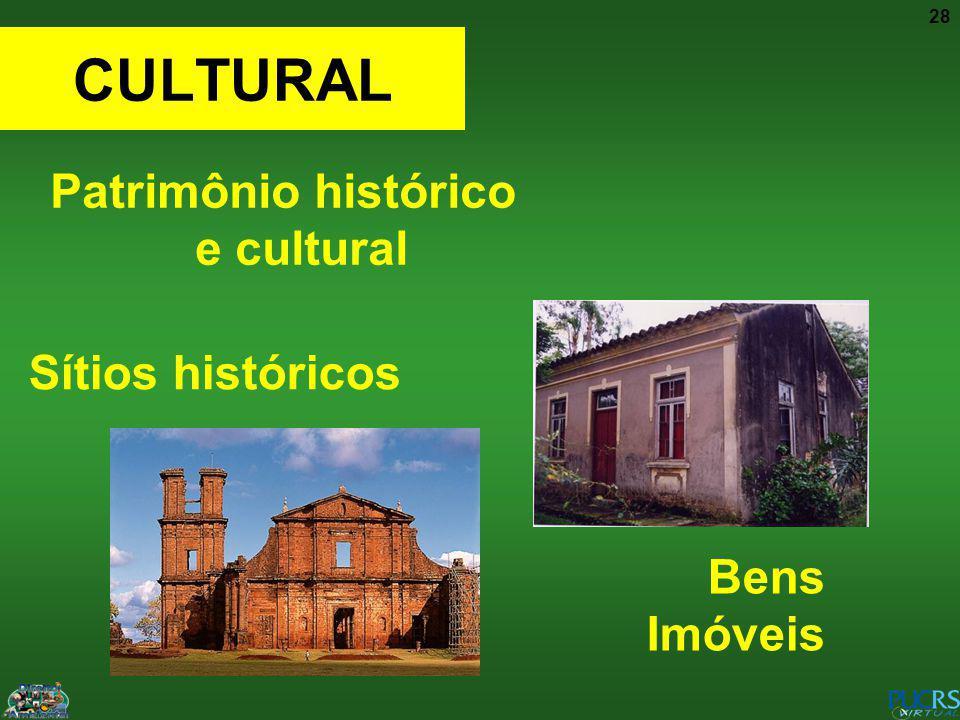28 CULTURAL Patrimônio histórico e cultural Cultura atual Sítios históricos Bens Imóveis