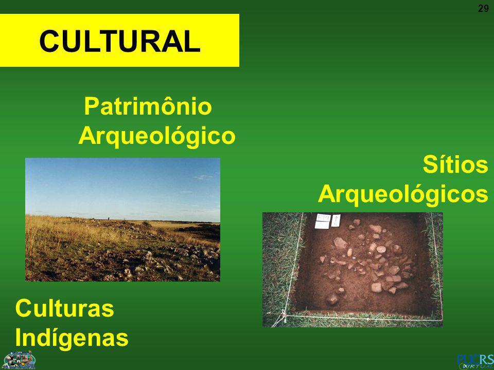 29 Patrimônio Arqueológico CULTURAL Culturas Indígenas Sítios Arqueológicos