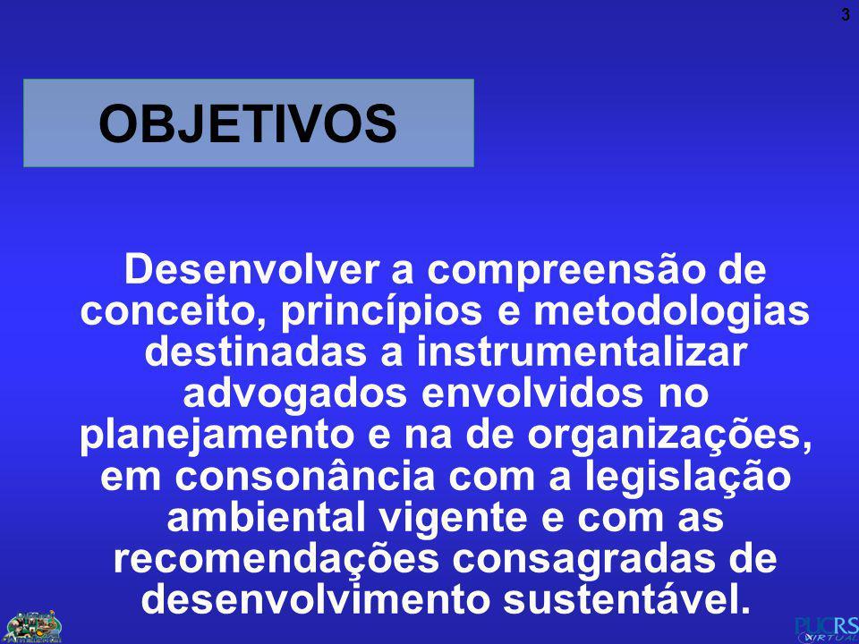 3 OBJETIVOS Desenvolver a compreensão de conceito, princípios e metodologias destinadas a instrumentalizar advogados envolvidos no planejamento e na d