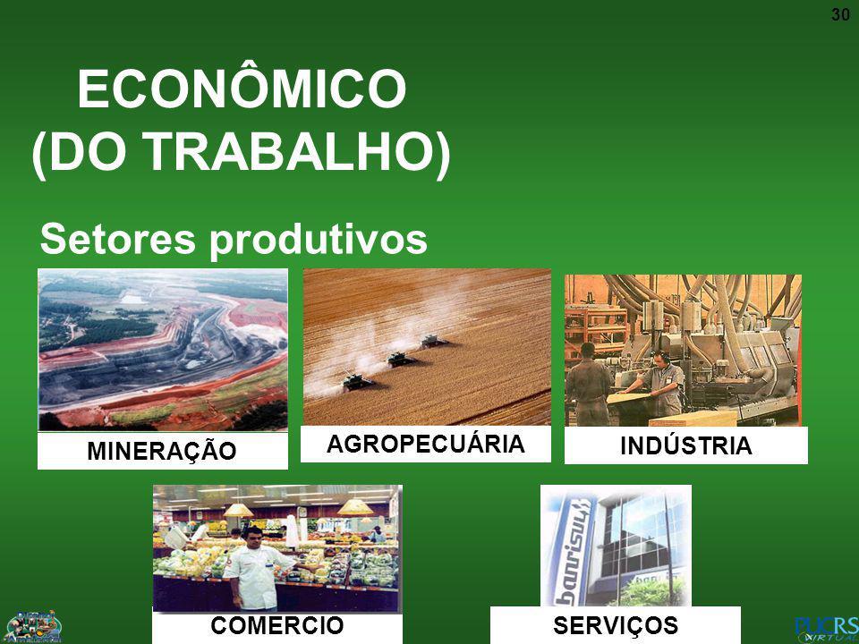 30 ECONÔMICO (DO TRABALHO) Setores produtivos MINERAÇÃO AGROPECUÁRIA INDÚSTRIA COMERCIO SERVIÇOS