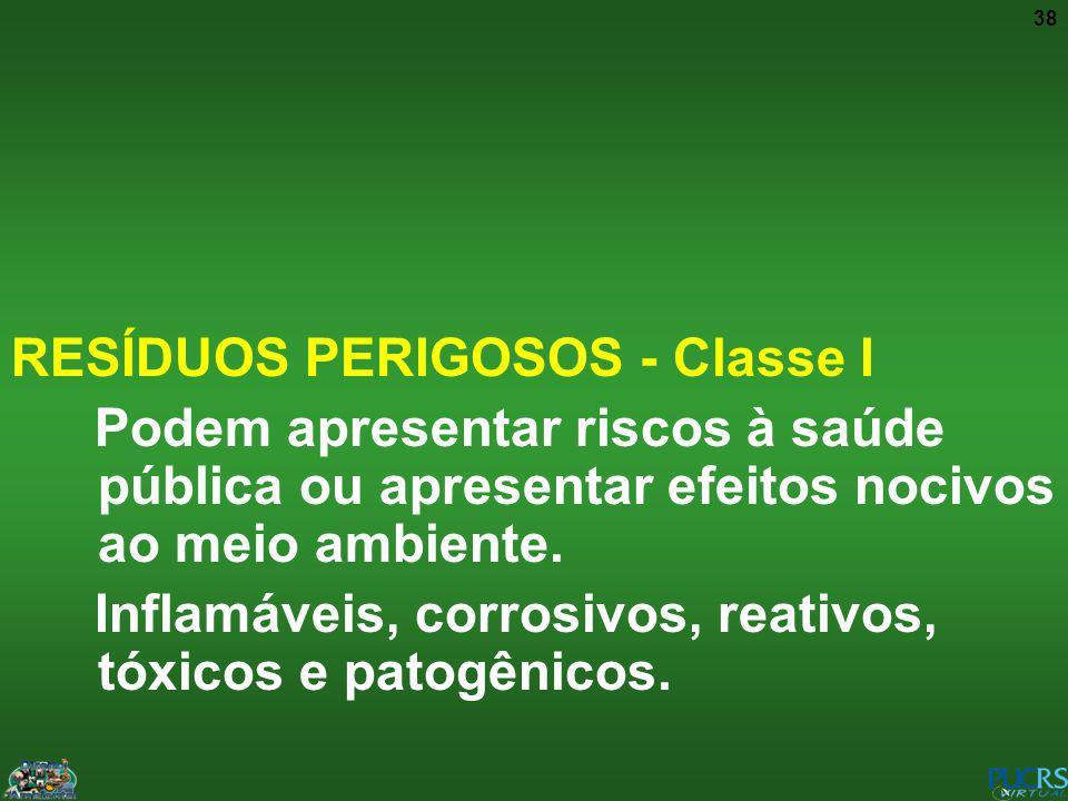 38 RESÍDUOS PERIGOSOS - Classe I Podem apresentar riscos à saúde pública ou apresentar efeitos nocivos ao meio ambiente. Inflamáveis, corrosivos, reat