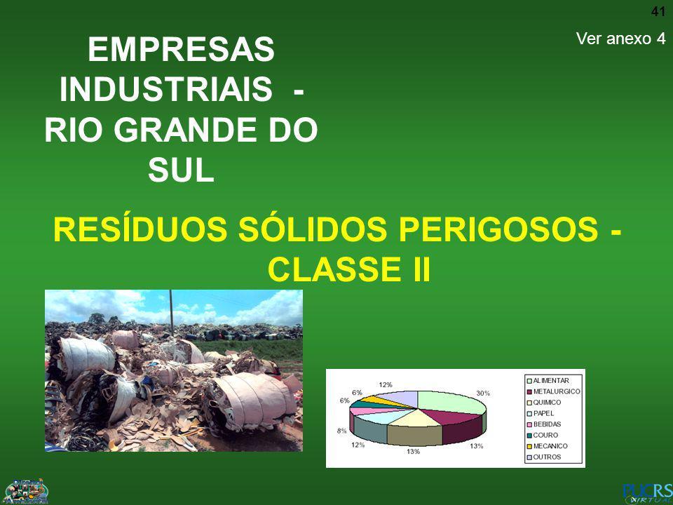41 RESÍDUOS SÓLIDOS PERIGOSOS - CLASSE II EMPRESAS INDUSTRIAIS - RIO GRANDE DO SUL Ver anexo 4